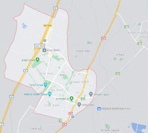 יבנה - תמונת מפה של העיר יבנה